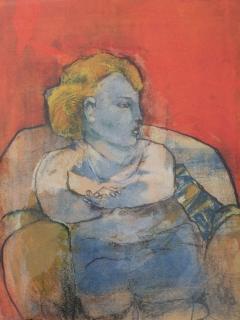 Vrouw in rode zetel